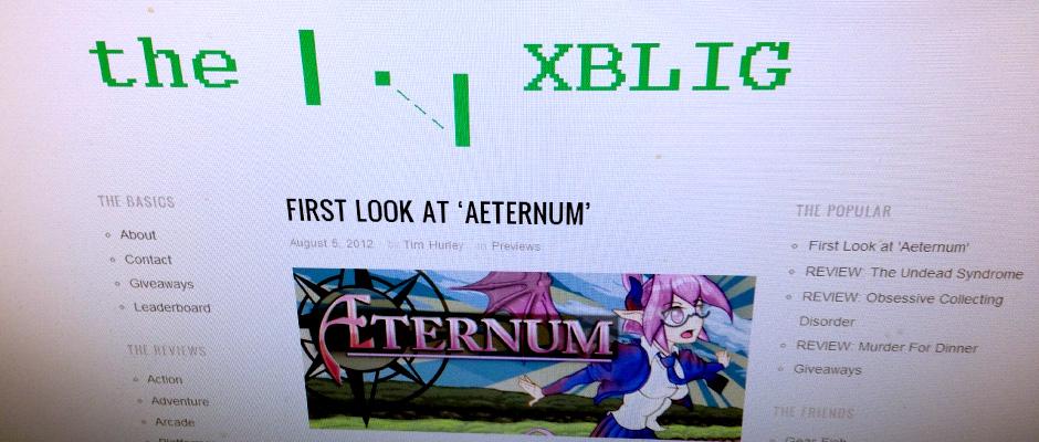 First Aeternum press! Courtesy theXBLIG